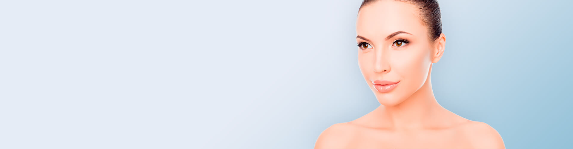 Perfect Skinned Woman With Large Lips on Blue Background