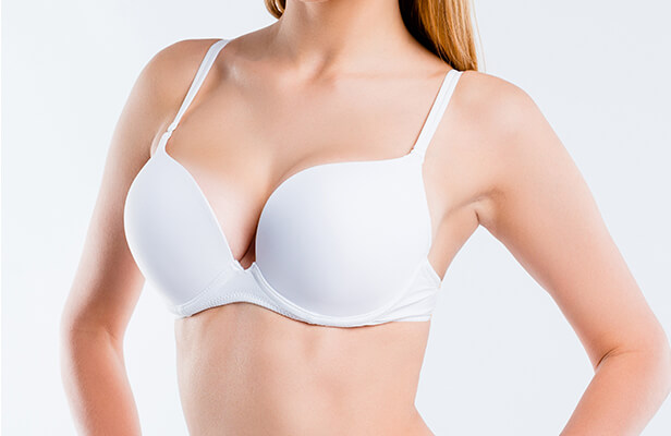 womans younger-looking breasts after lift procedure