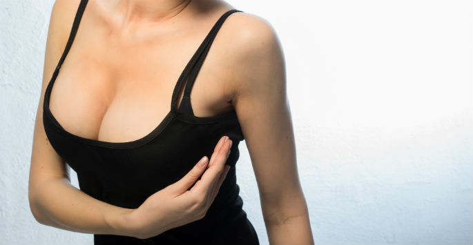 woman in black top for breast reduction