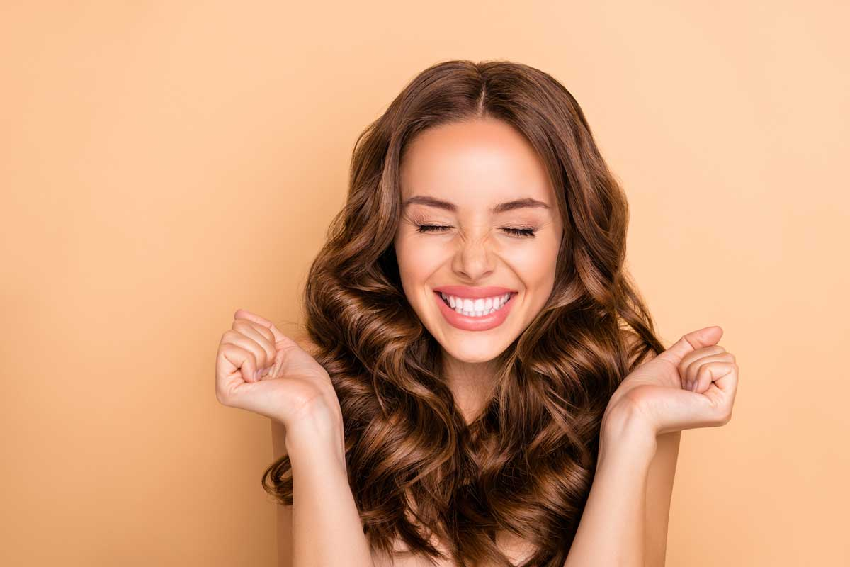 happy woman with beautiful hair