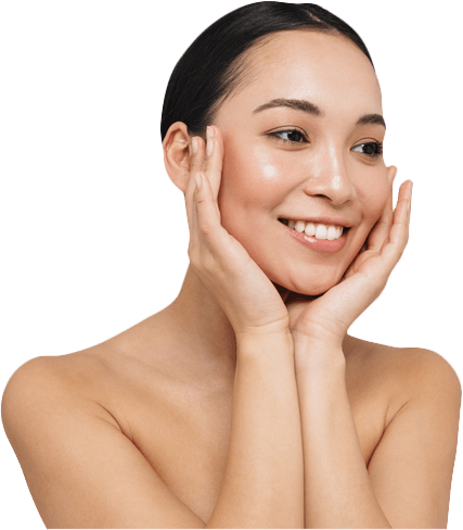 Smiling Woman Cupping Her Own Face