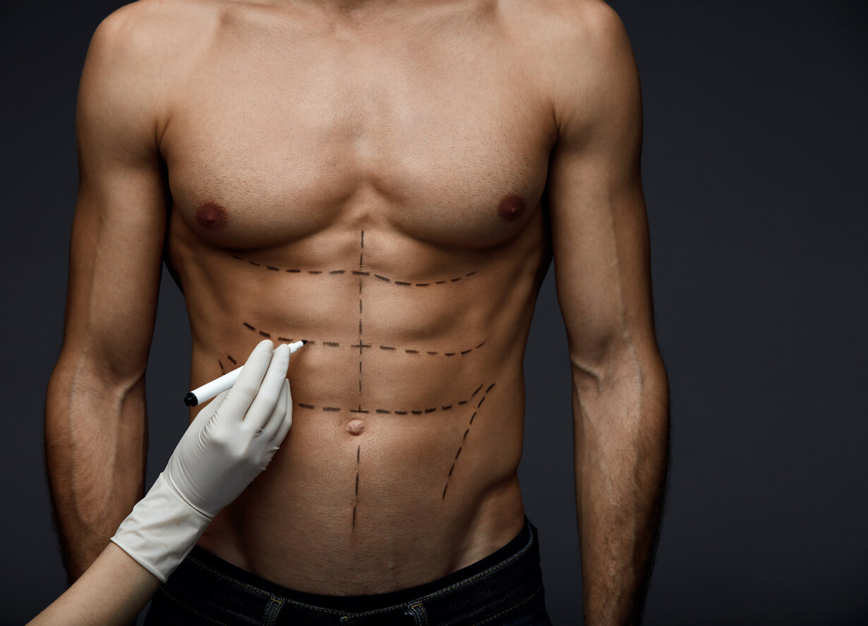 a man's fit midsection