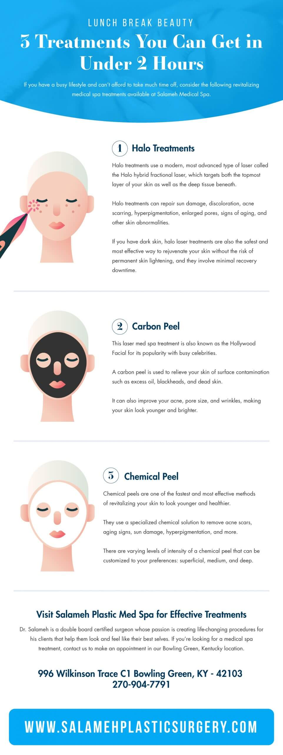 infographic featuring 3 lunch break beauty treatments