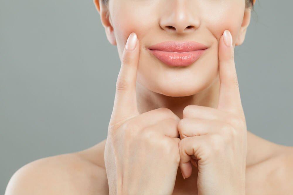 close-up of full glossy lips