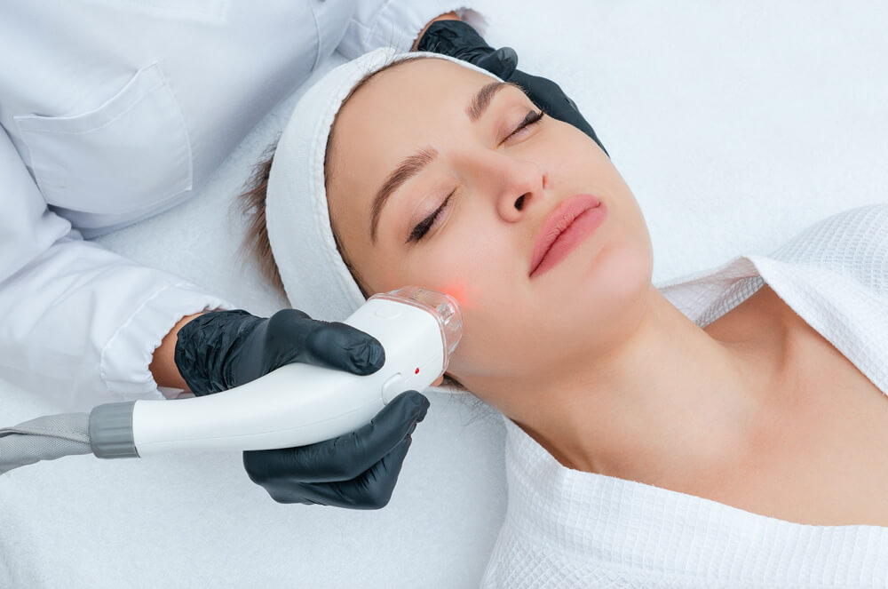 woman getting a laser med spa treatment