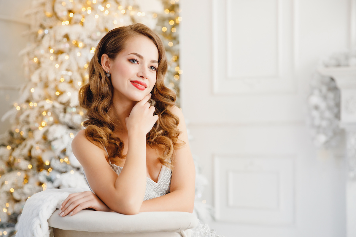 Woman with full hair during the holidays