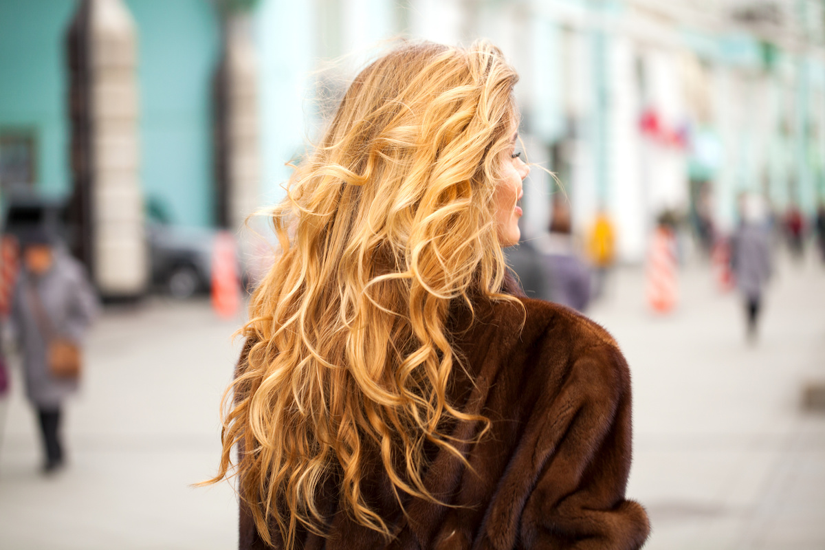 back of woman's head with long, healthy brown hair with blonde highlights