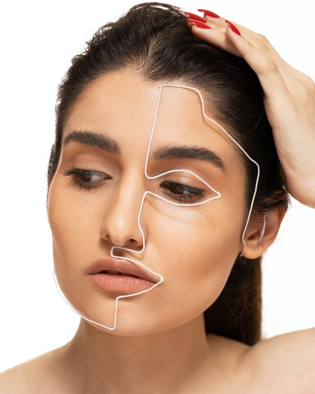 Woman with lines on the face